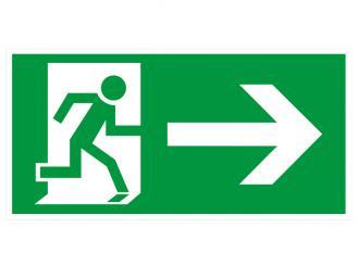 """Hinweisschild """"Rettungsweg rechts"""" KNS = Kunststoff langnachleuchtend und selbstklebend 1x1 Stück"""