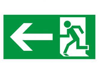 """Hinweisschild """"Rettungsweg links"""" KNS = Kunststoff langnachleuchtend und selbstklebend 1x1 Stück"""
