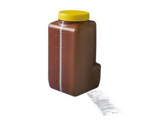 Urin-Sammelflasche 3,0 l mit transparentem Sichtstreifen und Skalierung, Etikett mit Gebrauchshinweis 1x1 Stück